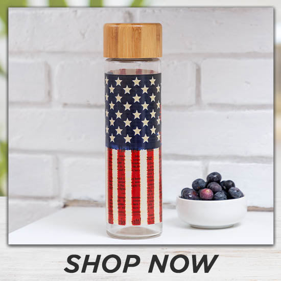 Land of Liberty Glass Water Bottle - Shop Now