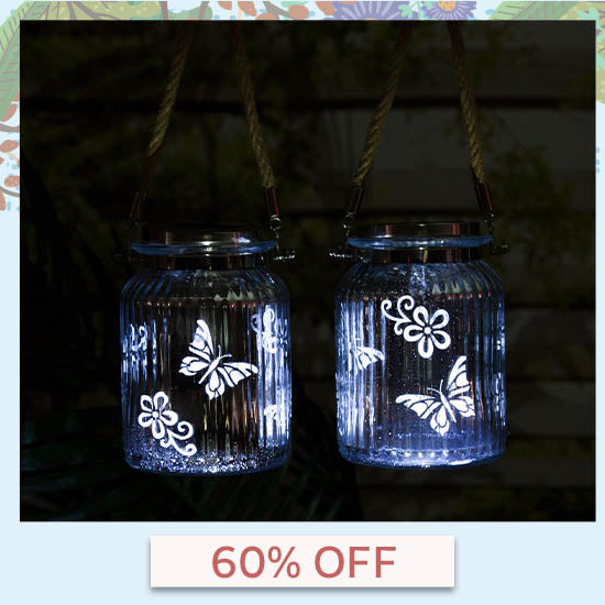 Fluttering Friends Mercury Glass Solar Light