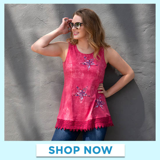 Embroidered Stars Lace Trim Tunic - Shop Now