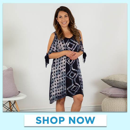 Chic Batik Cold Shoulder Dress