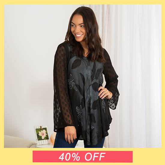Midnight Butterfly Long Sleeve Tunic - 40% OFF
