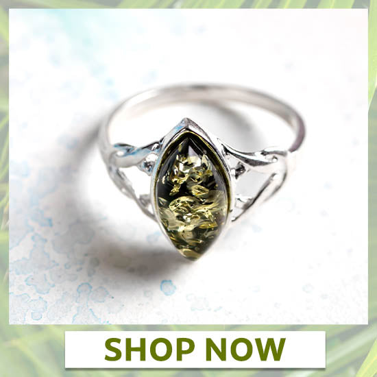 Green Amber Celtic Ring - North/South
