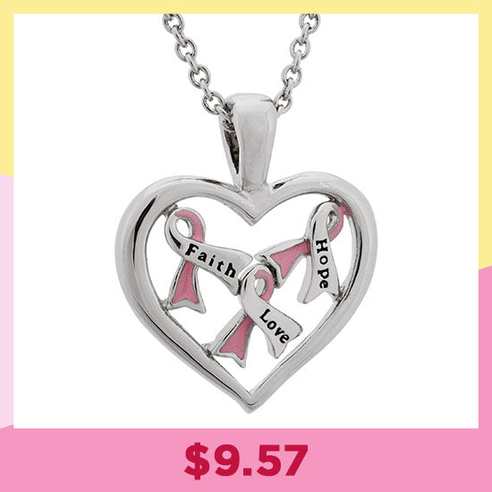 Full Heart Pink Ribbon Necklace - $10