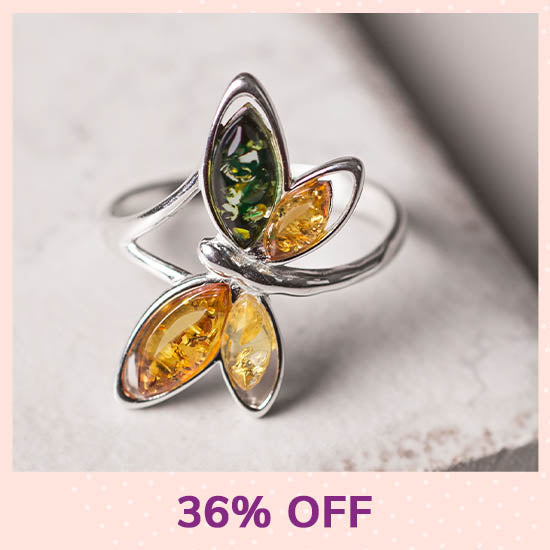 Multicolor Dragonfly Amber & Sterling Ring - 36% OFF