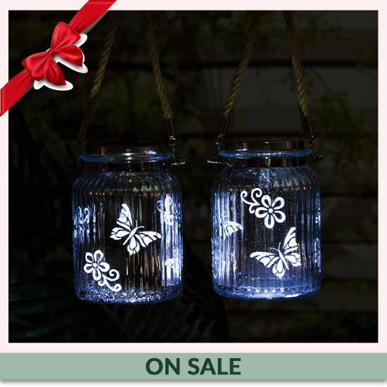 Fluttering Friends Mercury Glass Solar Light - On Sale