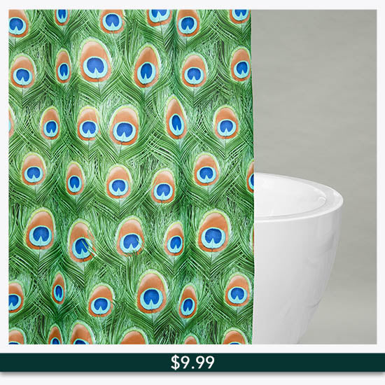 Emerald Peacock Shower Curtain - $9.99
