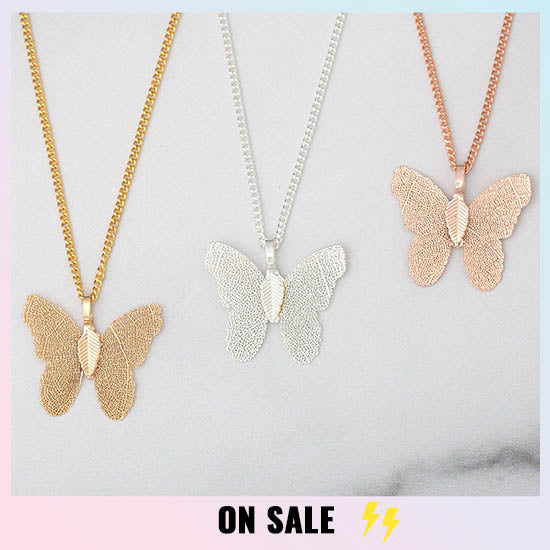 Lustrous Leaf Butterfly Necklace - On Sale