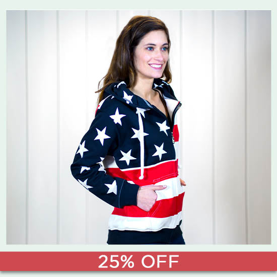American Flag Zip Hooded Sweatshirt - 25% OFF
