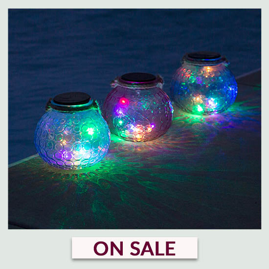 Pop of Color Glass Solar Lantern - On Sale
