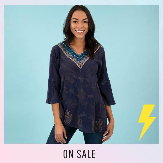 Beaded Beauty Bell Sleeve Tunic - On Sale