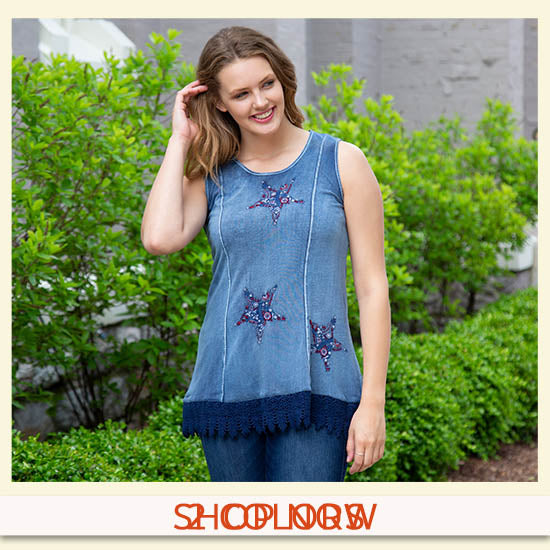 Embroidered Stars Lace Trim Tunic - 2 Colors