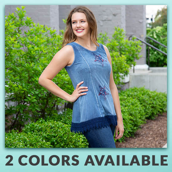 Embroidered Stars Lace Trim Tunic - 2 Colors Available