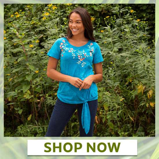 Blue Sky Garden Scoop Neck Tee