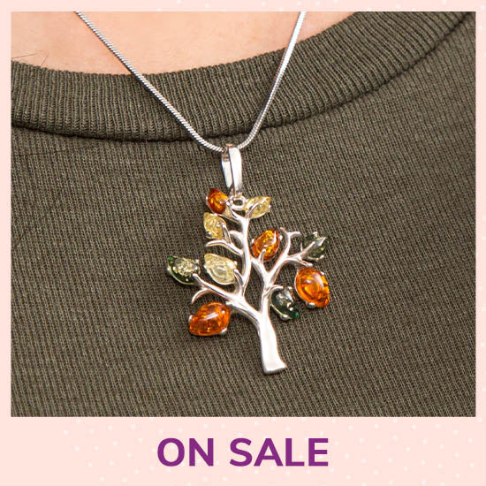 Tree of Life Amber & Sterling Necklace - On Sale