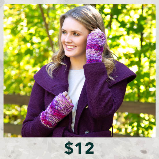 Cable Knit Fingerless Mittens - $12