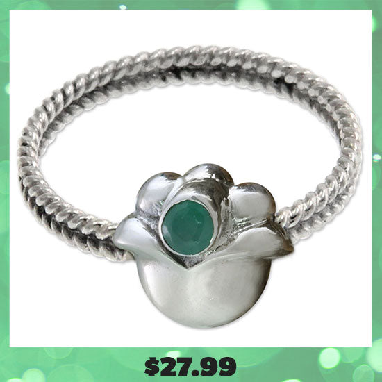 Lily of the Valley Sterling Silver & Emerald Ring - $27.99