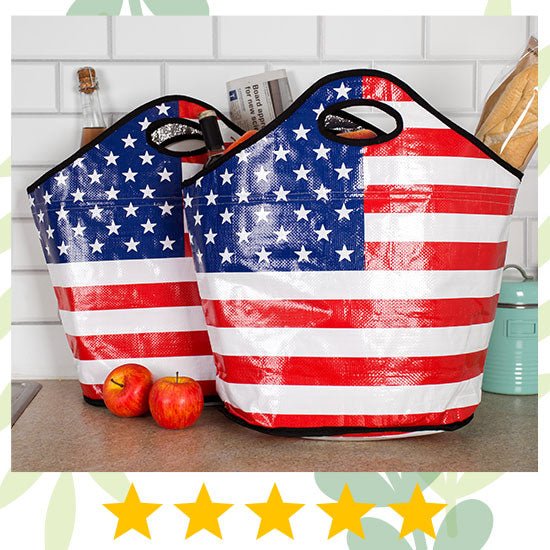 American Flag Insulated Shopping Totes Set - ★★★★★