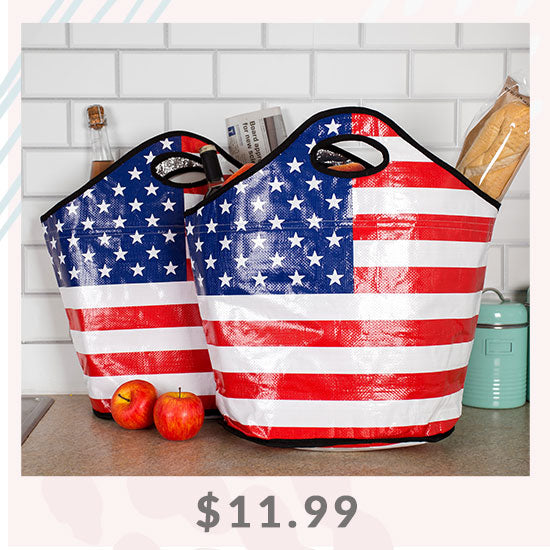 American Flag Insulated Shopping Totes Set - $11.99