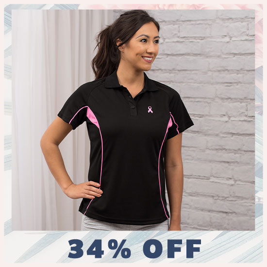 Pink Ribbon Quick-Dry Polo Shirt - 34% OFF