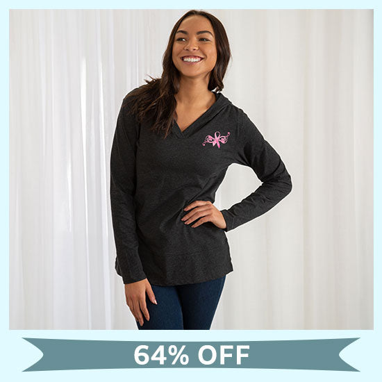 Pink Ribbon Butterfly Lightweight Hooded Tunic - 64% OFF