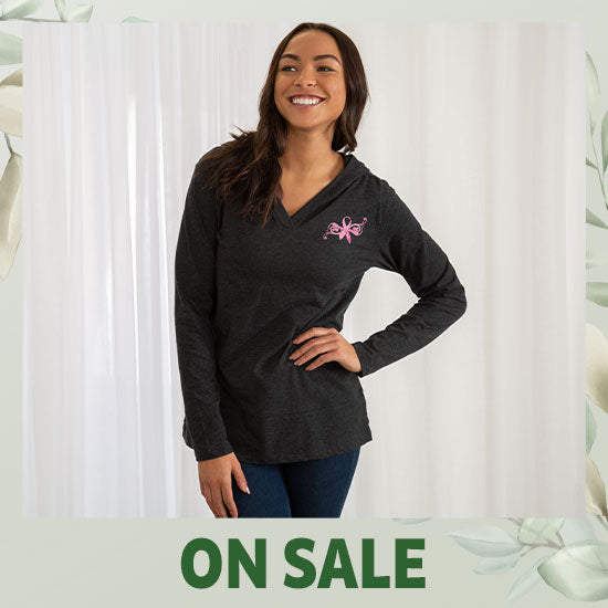 Pink Ribbon Butterfly Lightweight Hooded Tunic - On Sale
