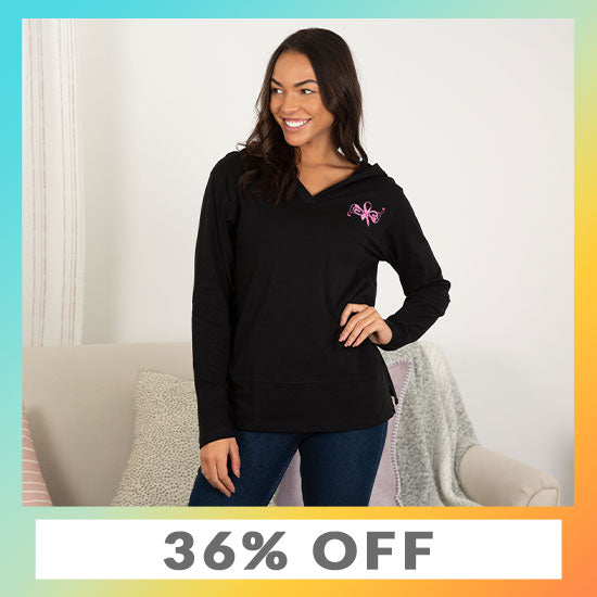 Pink Ribbon Butterfly Lightweight Hooded Tunic - 36% OFF