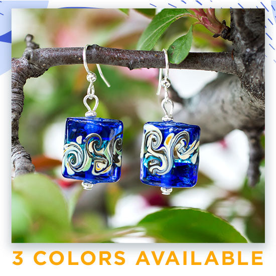 Colors of Inspiration Glass Earrings - 3 Colors Available