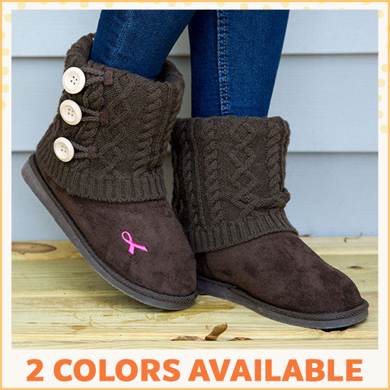 Pink Ribbon Mid Rise Knit Boots - 2 Colors Available