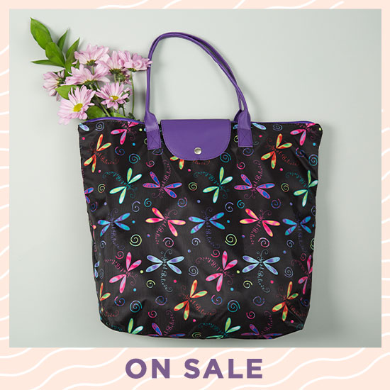 Just Believe Dragonfly Fold-up Tote Bag - On Sale