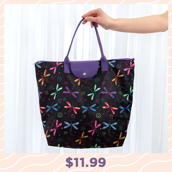 Just Believe Dragonfly Fold-up Tote Bag - $11.99