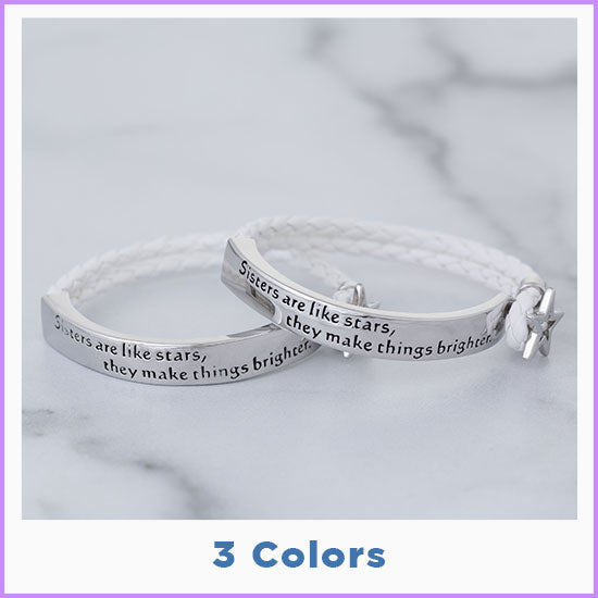 Sisters Are Like Stars Braided Bracelet - 3 Colors