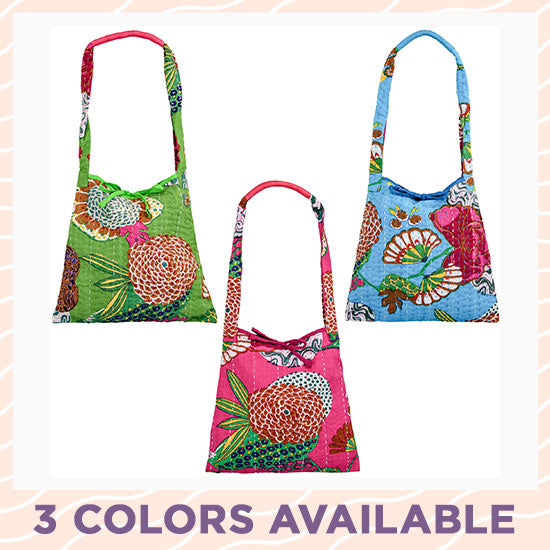 Bright Hand Stitched Kantha Hobo Bag - 3 Colors Available