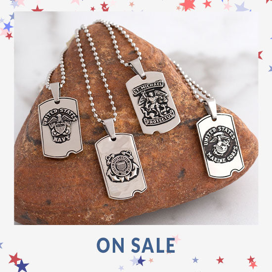 St. Michael Military Dog Tag Necklace - On Sale