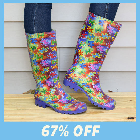 Free Spirit Piece of the Puzzle Ultralite™ Rain Boots - 67% OFF