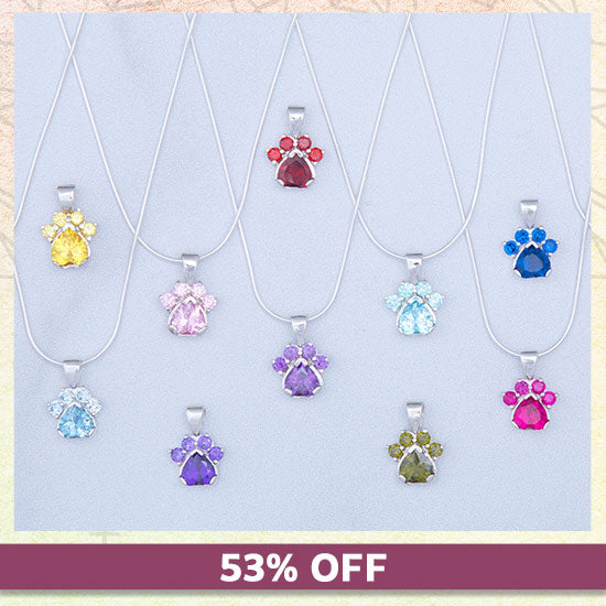 Paw Print Birthstone Sterling Necklace - 53% OFF