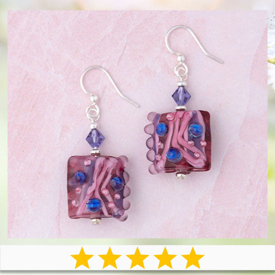 Jazzy Lampwork Glass Earrings - ★★★★★