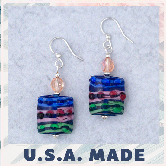 Jazzy Lampwork Glass Earrings - U.S.A. Made