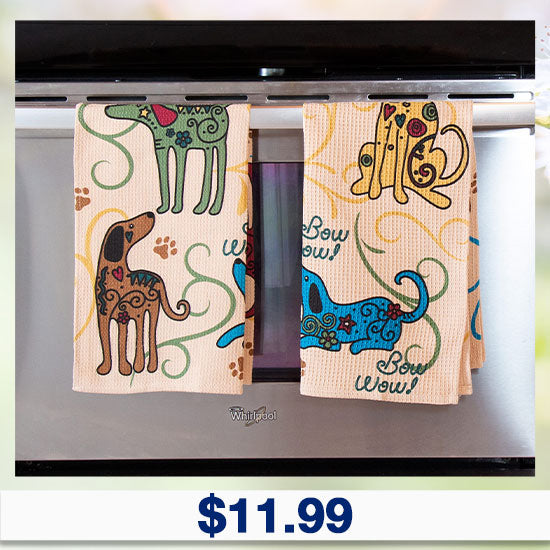 Festival Cats & Dogs Kitchen Towels - $11.99
