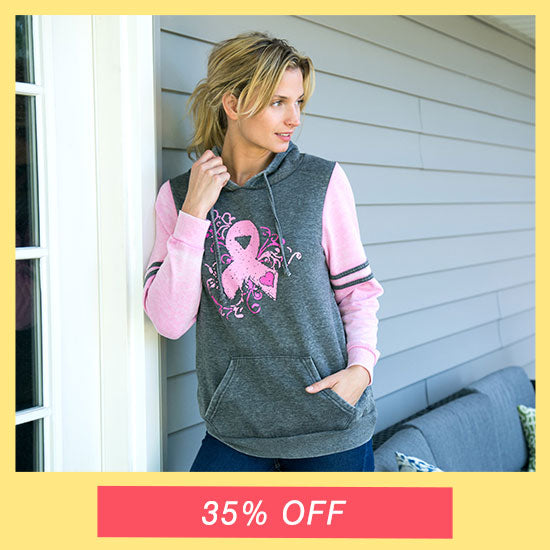 Burnout Pink Ribbon Pullover Hoodie - 35% OFF