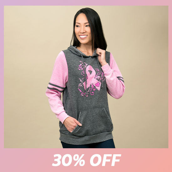 Burnout Pink Ribbon Pullover Hoodie - 30% OFF
