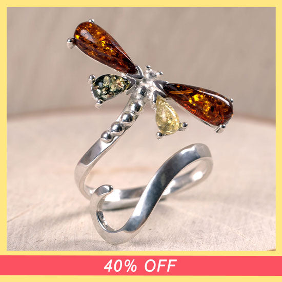 Dragonfly Amber & Sterling Adjustable Ring - 40% OFF