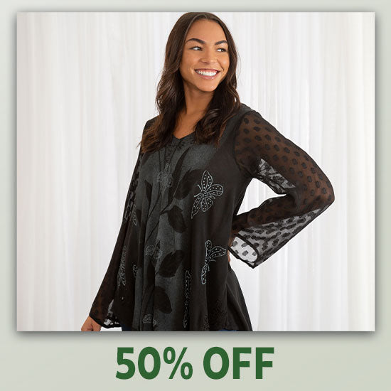Midnight Butterfly Long Sleeve Tunic - 50% OFF