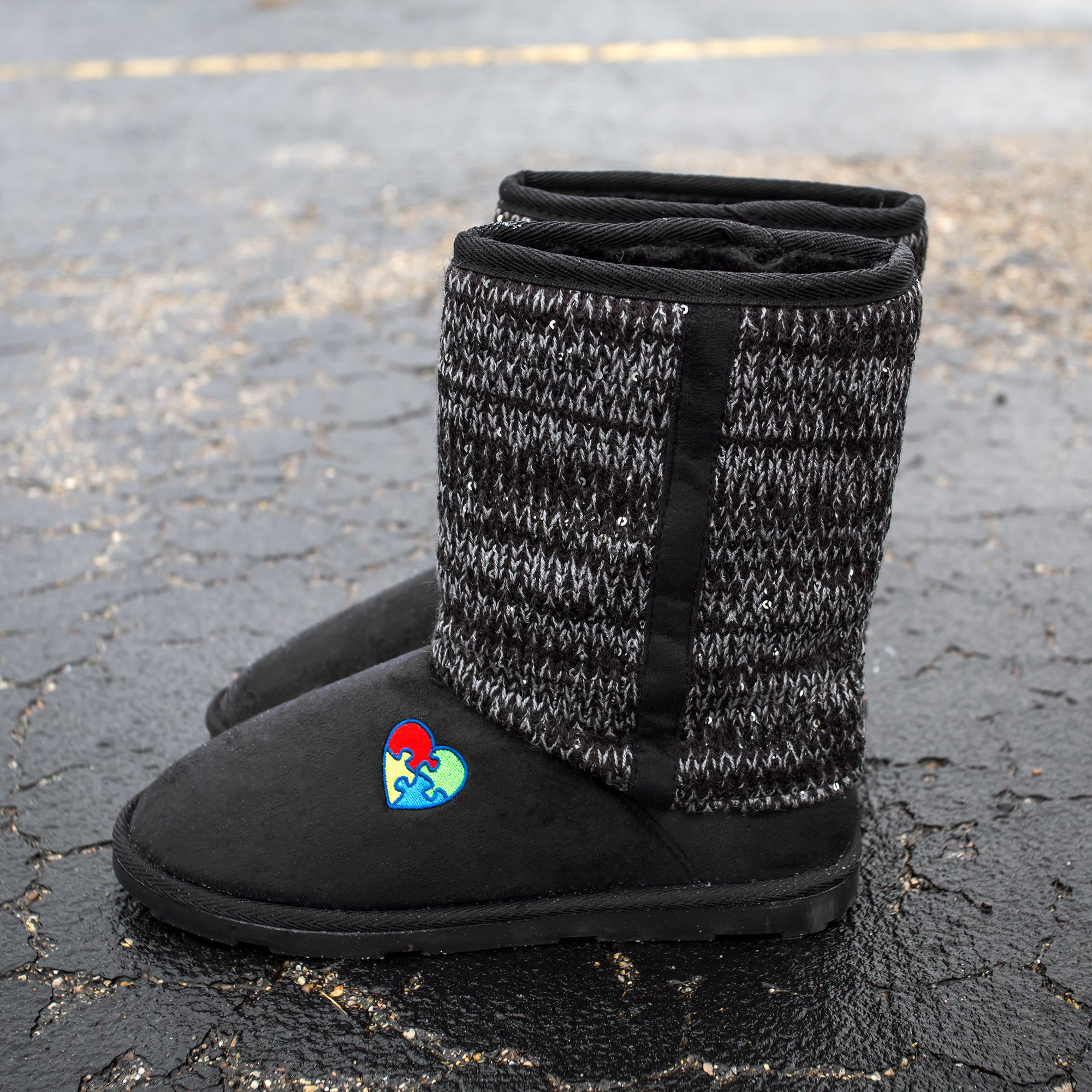 Autism Awareness Sparkle Knit Boots
