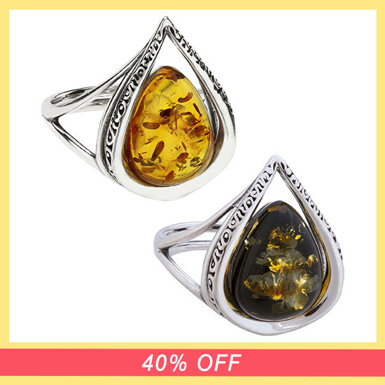 Cherished Droplet Amber & Sterling Ring - 40% OFF