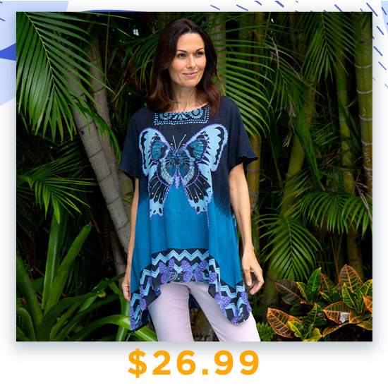 Butterfly Kisses Oversize Top - $26.99