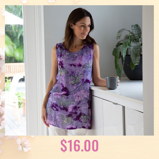 Butterflies & Blooms Layered Tunic - $16.00