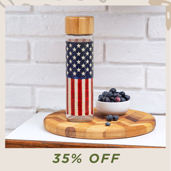 Land of Liberty Glass Water Bottle - 35% OFF