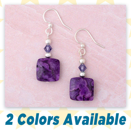 Crazy Lace Agate Earrings - 2 Colors Available