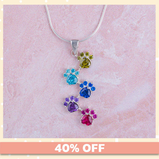Rainbow of Paws Sterling Necklace - 40% OFF