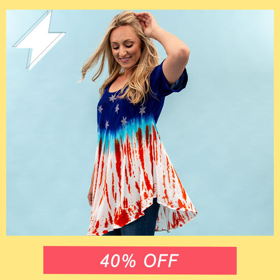Stars & Stripes Short Sleeve Tunic - 40% OFF